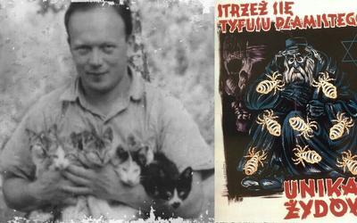 Евгениуш Лазовский и нацистский плакат о евреях-переносчиках тифа